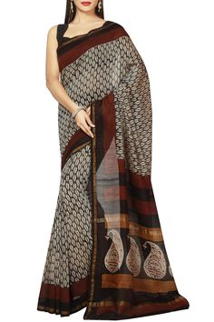 Beige Black & Brown Dabu Batik Print Zari Border Chanderi Cotton Silk Saree