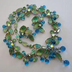 RARE VINTAGE KRAMER AQUA BLUE GREEN AB RHINESTONE ART GLASS NECKLACE & EARRINGS #Kramer