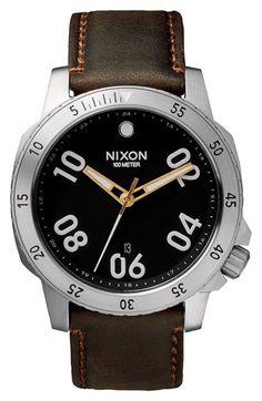 Men's Nixon 'The Ranger' Leather Strap Watch