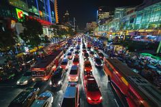 https://flic.kr/p/dvsJSX   Gridlock in Bangkok   Rush hour traffic at a standstill in the busy shopping district of Si Lom, in the heart of Bangkok.  This image was featured in the December issue of Digital Photo UK magazine  14mm   ISO 800   f/4   1/40's  www.peterstewartphotography.com   Follow my latest updates on:   Facebook       Google+      Instagram        Twitter  For image licensing or print enquiries, please contact me at: info@peterstewartphotography.com