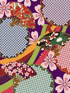 Japanese Textiles, Japanese Patterns, Japanese Fabric, Pattern Art, Print Patterns, Fabric Print Design, Fan Drawing, Sakura, Japan Art