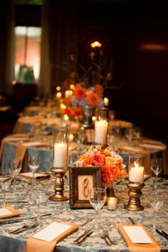 Orange-Peach-Blue-Fall-Wedding [like-simplicity of candles, flowers, numbers; color scheme but more white and less blue and be navy]