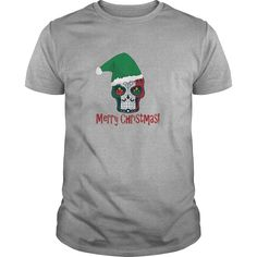 Sugar Skull Santa Hat Merry Christmas Tshirt