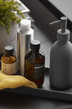 Add a finishing touch to your bathroom with accessories that deliver style to your daily hygiene routine. Matte finishes and clean-lined pieces create an instantly cool edgy space. This stylish soap dispenser will add a fashionable touch to any washroom. Made of grey ceramic, it's a quick and easy way to update your home's style. Pick up the toothbrush holder and tumbler to complete the set. Health Dinner, Bathroom Collections, Washroom, Toothbrush Holder, Soap Dispenser, Tumbler, Routine, Cleaning, Organization