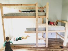Having four kiddos, three boys and baby girl, we need to maximize space and comfort. This was the year to move the boys into a bigger room but we needed to maintain floor space for play. So, I designed this triple staggered bunk bed to accommodate the room and our growing children.