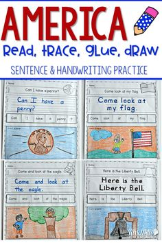 Handwriting practice with a patriotic theme while your students write their high-frequency. Students will read, write, re-arrange, and illustrate sentences. The rebus will help your most emergent reader feel successful. Two levels of this activity is included: Level one (10 pages)-students trace, Level two (10 pages)-students write. Patriotic words are featured just in time for President's Day. This can be used as a center activity, morning work, handwriting or independent practice.