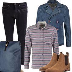 Vestire solo con capi di jeans si può, ma è bello poter spezzare con una camicia dalle mille righe, straight fit, stivaletti taupe, zaino in tessuto sempre effetto jeans ed infine i due capi must: jeans slim fit scuri, giacca doppio petto con bottoni in cognac.