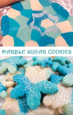 These beautiful Blue Marble Sugar Cookies are a unique take on a traditional Sugar Cookie and will be one of your family's favorite cookies. For more Cookie recipes follow us at https://www.pinterest.com/2SistersCraft/