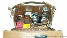 Cool Leica Brand Slide Out Camera Case Box Leather W/ Filters Parts Leitz German #Leica