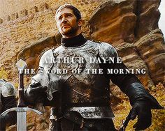 Ser Arthur Dayne (Luke Roberts) the Sword of the Morning, the deadliest of King Ayres' Kingsguard, a close friend of Prince Rhaegar Targaryen. The greatest swordsman of his generation, perhaps of all time. GRRM Martin has said that with standard swords Arthur and Ser Barristan Selmy would be evenly matched, but with his own sword in hand, Arthur could beat Barristan in a sword fight. Game of Thrones.