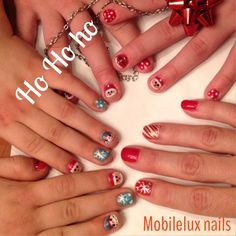 Home for the holidays Christmas nail art group shot nails by mobilelux nails on the go