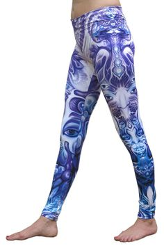 """Sublime Leggings : Purple Plasm Sublimation print lycra leggings with wide waistband & all over print The design is printed using dye sublimation technology on a high quality, 4-way stretch, polyester lycra. This gives extremely juicy, vibrant colors that will never fade away, no matter how many times they get washed, & results in an extremely soft """"feel"""" to the leggings for ultimate comfort. Polyester lycra (82% polyester, 18% spandex) Artwork by Fabian Jimenez"""