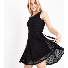 Mela Black Embellished Neck Zigzag Lace Dress ($39) ❤ liked on Polyvore featuring dresses, black, lace dress, lace cocktail dress, zig zag dresses, holiday dresses and holiday cocktail dresses