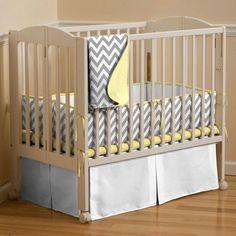 Gray and Yellow Chevron Zig Zag Portable Crib Bumper