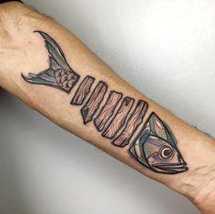Creative fish tattoo by Luca Testadiferro