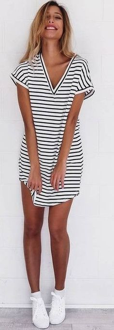#summer #mishkahboutique #outfits | Stripe Tee Dress