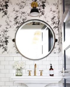 Floral Wallpaper and subway tile