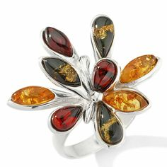 """Age of Amber Multicolored Amber Silver """"Sunburst"""" Ring"""