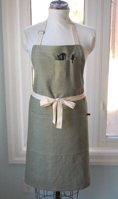 Soft Green Linen Shop/Waiters Apron - heavy cotton linen sturdy full apron with multiple pockets