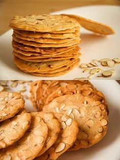 Almond tuile ~ These crispy cookies are extremely easy to bake, all you need is flour, egg whites, sugar, oil and nuts. Crispy Cookies, Keto Cookies, No Bake Cookies, Cookie Desserts, Yummy Cookies, Cookie Recipes, Dessert Recipes, Crispy Almond Cookies Recipe, Think Food