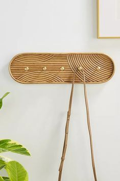 Milo Hook Rack - Hanging hardware required - Rattan, iron, engineered hardwood - Five hooks Dimensions Wall Hook Rack, Coat Hooks On Wall, Entryway Coat Hooks, Entryway Decor, Isle Of Man, Tiny Living, Living Spaces, Living Room, Hanging Letters