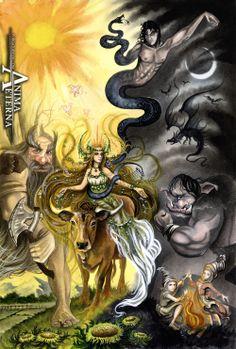 Commissioned Painting - Basque Mythology by AnimaEterna.deviantart.com on @deviantART