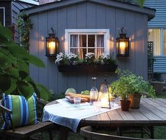 Window box and lanterns