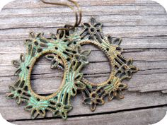 Antiqued Patina Floral Earrings, these are incredible.