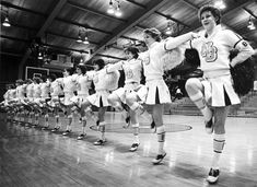 """In action - The girls in New Berlin West High School's pompon squad demonstrated a cheer at a contest for area high school squads sponsored by cheerleaders at Waukesha's Carrol College"" Feb 1983 Texas High School, West High School, Cheerleading Pictures, Cheerleading Uniforms, Band Uniforms, New Berlin, 80s Aesthetic, Saddle Shoes, Sport Fashion"