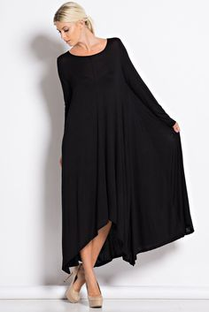 This is the perfect maxi dress for Fall! It's so comfy being made of Rayon and Spandex. With 3/4 length sleeves, pockets, and loose fit you'll want this dress in multiple colors for the season! Small-