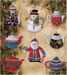 Mary Engelbreit Christmas Teapots Ornaments Felt Kit  $22.99 #maryengelbreit