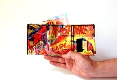 Portemonnaie SPIDERMAN Marvel Comic upcycling Unikat! PauwPauw Brieftasche, Geldbörse, Geldbeutel Superheld Comic wallet handmade in Berlin von PauwPauw auf Etsy