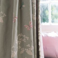 Gorgeous Duck Egg Linen with Hydrangeas and Butterflies. Suitable for curtains and blinds. Bedroom 2018, Master Bedroom, Susie Watson, Linen Fabric, Hydrangea, Egg, Butterfly, Curtains, Interior Design