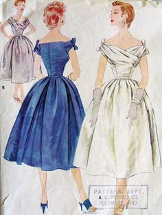 [If only this pattern would fit my body. in L*O*V*E with vintage sewing patterns. Moda Vintage, Moda Retro, Vintage Dress Patterns, Clothing Patterns, Vintage Dresses, Vintage Outfits, Looks Vintage, Style Vintage, 1950s Fashion