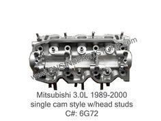 89-00 Mitsubishi 3.0 6G72 cylinder head single cam style.  Fits: Montero, Pickup, 3000GT, Sigma, and Diamante.