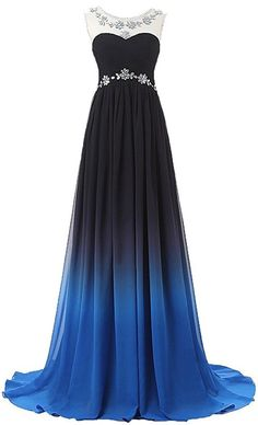 Gradient Color Prom Evening Dress Beaded Ball Gown prom dresses