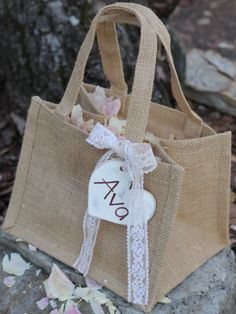 Burlap Flower Girl Basket Personalized Heart by MichelesCottage