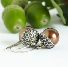Acorn Earrings, Brown Pearls, Silver and Bronze, Fall Jewelry by JacarandaDesigns on Etsy