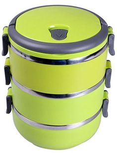 KnGLuv Stainless Steel Food Storage Container - 3 Stackable Round Bowls With An Airtight Lid, Carry Handle And Individual Locking Clips Lime Green