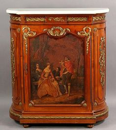 419: FRENCH VERNIS MARTIN CURVED FRONT CABINET MARBLE : Lot 419