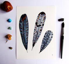 Plumes Peinture Plumes Dessin Plumes Nature Morte Plumes : Peintures par celine-artpassion