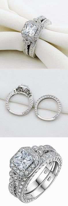 Newshe Vintage Bridal Set Princess White Cz 925 Sterling Silver Wedding Engagement Ring Set Size 6