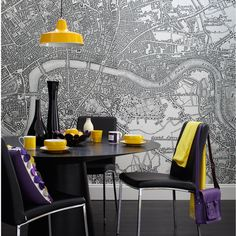 Yellow accents in dinning room Wallpaper map mural from Printed Space via Ideal Home (UK)