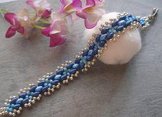 Beaded Bracelet Pattern Tutorial Blue Cross Bead Superduo