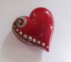 Glass Lampwork Red Heart with Silvered Ivory by JeansBeads on Etsy, $28.00