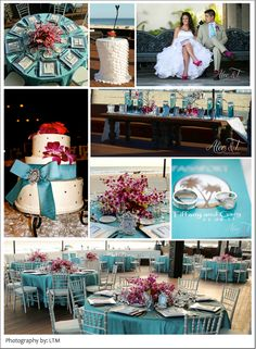 Turquoise and fuchsia wedding decor at the Cabo Azul resort by www.linensthingsandmore.com