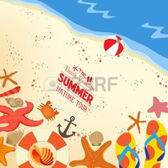Flip-flops and shells on sand background photo
