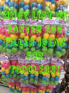 Huge list with toddler friendly Easter Egg filling ideas. Everything from hair bows to homemade cheese crackers.
