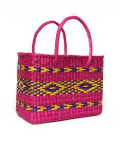 Hot Pink and Purple Brazil Basket Tote