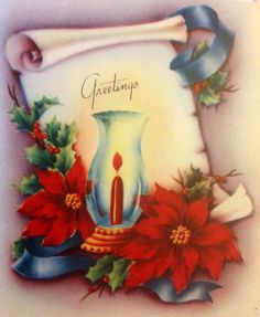 Beautiful Vintage 1940s Christmas Greeting Card with Red Poinsettias & Hurricane Lamp | eBay